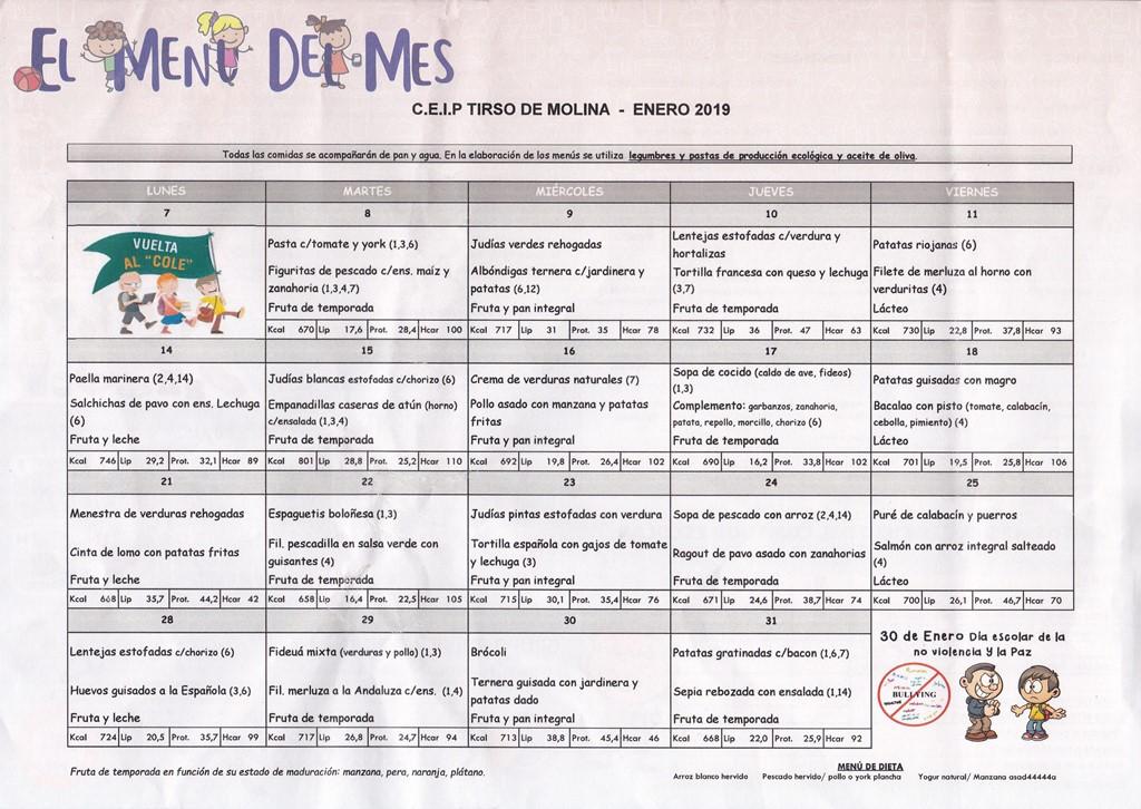 Menú de comedor de enero – AMPA Tirso de Molina